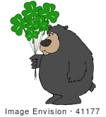 #41177 Clip Art Graphic Of A St Paddy'S Day Bear With Clover Balloons