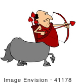 #41178 Clip Art Graphic Of A Centaur Cupid Man Shooting Heart Arrows On Valentine'S Day