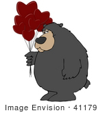 #41179 Clip Art Graphic Of A Valentine'S Day Bear With Heart Balloons