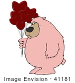 #41181 Clip Art Graphic of a Pink Valentine's Day Bear With Heart Balloons by DJArt