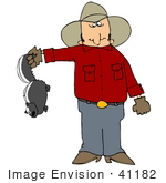 #41182 Clip Art Graphic Of A Cowboy Holding A Pesky Skunk By The Tail