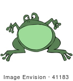 #41183 Clip Art Graphic of a Fat Green Leaping Frog by DJArt