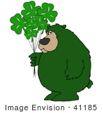 #41185 Clip Art Graphic of a Green St Patrick's Day Bear With Clover Balloons by DJArt
