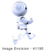 #41190 Clip Art Graphic Of An Ao-Maru Robot In Silver Sprinting Past In A Blur