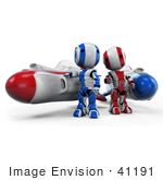 #41191 Clip Art Graphic Of Ao-Maru Robots In Blue And Red Standing By Racing Missile Rockets