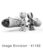 #41192 Clip Art Graphic Of Ao-Maru Robots In Black And Chrome Standing By Racing Missile Rockets