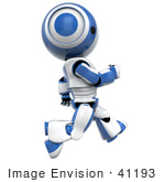 #41193 Clip Art Graphic Of An Ao-Maru Robot In Blue Running Or Jogging Past In Profile
