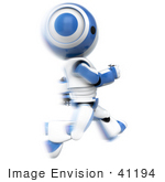 #41194 Clip Art Graphic Of An Ao-Maru Robot In Blue Sprinting Past In A Blur