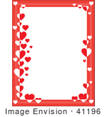 #41196 Clip Art Graphic Of A Border Of Red With Red And White Hearts On A White Stationery Background