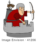#41206 Clip Art Graphic Of A Roman Soldier With A Bow And Arrows Atop A Fortress Tower