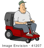 #41207 Clip Art Graphic Of A Caucasian Man Driving A Red Riding Lawn Mower