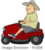 #41209 Clip Art Graphic Of A Caucasian Farmer In A Hat Driving A Red Riding Lawn Mower