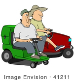 #41211 Clip Art Graphic Of Two Caucasian Men Eying Each Other Considering Racing On Their Riding Lawn Mowers