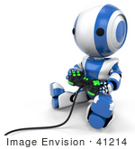 #41214 Clip Art Graphic of a 3d Blue Robot Using a Controller to Play a Video Game by Jester Arts