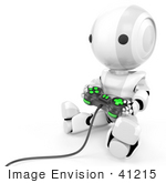 #41215 Clip Art Graphic of a 3d White Robot Using a Controller to Play a Video Game by Jester Arts