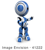#41222 Clip Art Graphic of a 3D Blue and White Robot Standing and Facing to the Right by Jester Arts