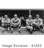#41223 Stock Photo Of Four Baseball Players Babe Ruth Ernie Shore Rube Foster And Del Gainer Of The Boston Red Sox Sitting Together