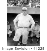 #41228 Stock Photo Of Babe Ruth Standing Near A Dugout Posing In His New York Yankees Uniform