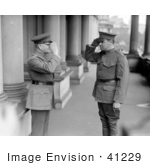#41229 Stock Photo of Babe Ruth And John J. Pershing In Uniforms, Saluting Each Other by JVPD