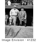 #41232 Stock Photo of Babe Ruth In His New York Yankees Baseball Uniform, Standing In The Dugout With John McGraw by JVPD