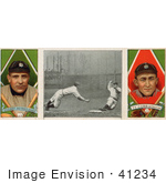 #41234 Stock Illustration Of A Stock Illustration Of A Vintage Baseball Card Of Charley O'Leary And Ty Cobb With A Center Photo 1912