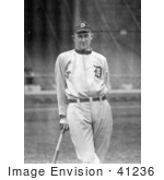#41236 Stock Photo Of Detroit Tigers Baseball Player Ty Cobb Nick Named &Quot;The Georgia Peach&Quot; Leaning Against A Bat