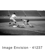 #41237 Stock Photo Of Ty Cobb Sliding Safe To Third Base After Making A Triple