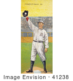 #41238 Stock Illustration of a Vintage Baseball Card Of Sam Crawford Holding A Baseball In A Glove Over A Base by JVPD