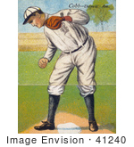 #41240 Stock Illustration Of A Vintage Baseball Card Of Ty Cobb Standing Over A Base And Looking Down