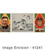 #41241 Stock Illustration Of A Vintage Baseball Card Of Hughie Jennings And Ty Cobb With A Center Photo