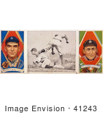 #41243 Stock Illustration Of A Vintage Baseball Card Of George Moriarty And Ty Cobb