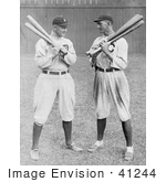 #41244 Stock Photo of Detroit Tigers Baseball Player, Ty Cobb, Standing And Holding Bats With Shoeless Joe, Joe Jackson, Of The Cleveland Naps by JVPD