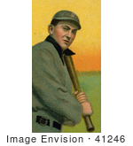 #41246 Stock Illustration Of A Vintage Baseball Card Of Tyrus Raymond Cobb Of The Detroit Tigers Up At Bat