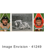 #41249 Stock Illustration Of A Vintage Baseball Card Of Charley O'Leary And Ty Cobb