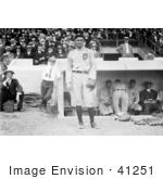 #41251 Stock Photo Of Ty Cobb In His Detroit Tigers Baseball Uniform Standing In Front Of A Dugout During A Game