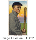 #41252 Stock Illustration Of A Vintage Baseball Card Of Detroit Tigers Baseball Player Ty Cobb Posing With A Bat
