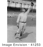 #41253 Stock Photo Of Jim Thorpe In His Giants Uniform Holding Up A Gllove To Catch A Baseball