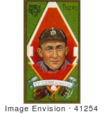 #41254 Stock Illustration Of A Vintage Baseball Card Of Ty Cobb Of The Detriot Tigers With Baseball Gear Over Green