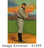 #41255 Stock Illustration Of A Vintage Detroit Tigers Baseball Card Of Ty Cobb Up For Bat
