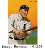 #41256 Stock Illustration of a Vintage Baseball Card Of Ty Cobb Of The Detroit Tigers, Swinging A Baseball Bat by JVPD