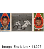#41257 Stock Illustration Of A Vintage Baseball Card Of George Joseph Moriarty And Ty Cobb With A Center Photo