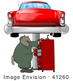 #41260 Clip Art Graphic Of An African American Male Auto Mechanic Searching For Tools In A Tool Box Under A Red Classic Car On A Lift In A Garage