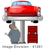 #41261 Clipart Illustration Of An African American Male Auto Mechanic Under A Red Classic Car Up On A Lift In A Garage