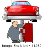 #41262 Clip Art Graphic Of A Caucasian Male Auto Mechanic Searching For Tools In A Tool Box Under A Red Classic Car On A Lift In A Garage