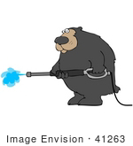 #41263 Clip Art Graphic Of A Bear Using A Pressure Washer