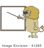 #41265 Clip Art Graphic of a Male Lion Holding a Pointer and Teaching a Lesson by DJArt