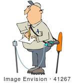 #41267 Clip Art Graphic Of A Gas Worker Taking Notes And Inspecting For Leaks