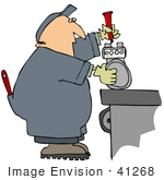 #41268 Clip Art Graphic Of A Worker Fixing A Meter On A Table