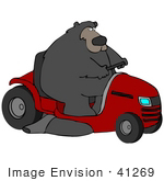 #41269 Clip Art Graphic Of A Bear Operating A Big Red Riding Lawn Mower
