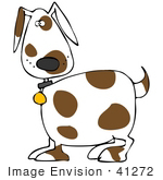#41272 Clip Art Graphic Of A Spotted Brown And White Doggy